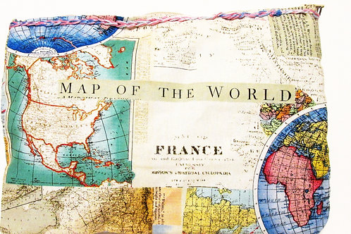 Map of the World Makeup Bag, Map Makeup Bag, Carry all Map Pouch
