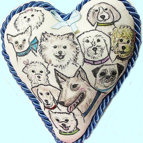 Heart Pillow-Dogs of Art