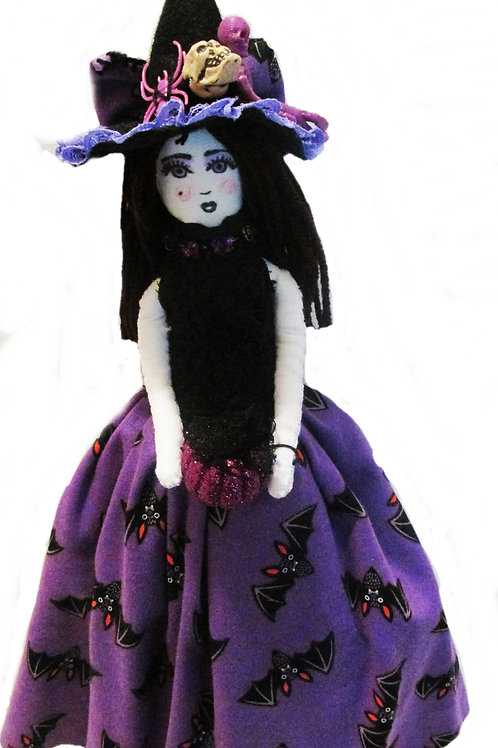 Purple Halloween Witch Doll, Decorative Handmade Doll