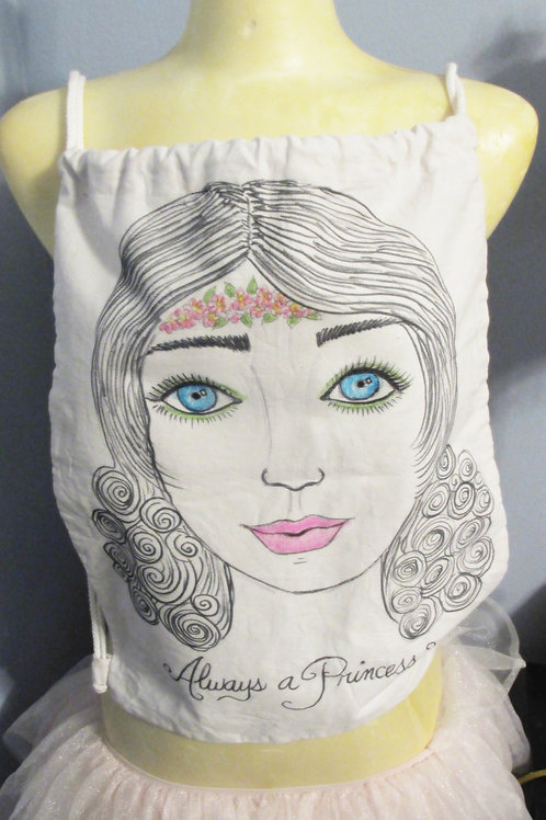 Shabby Chic Draw String Backpack-Pretty Girl Illustration