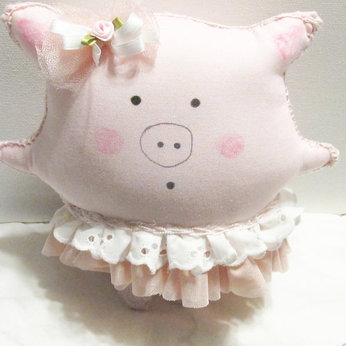 Puffie Pig, Pig Doll, Stuffed Pig, Handmade Pig