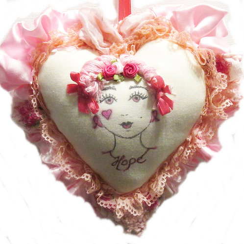 Shabby Chic Heart Pillow, Victorian Girl, Pink Heart Pillow