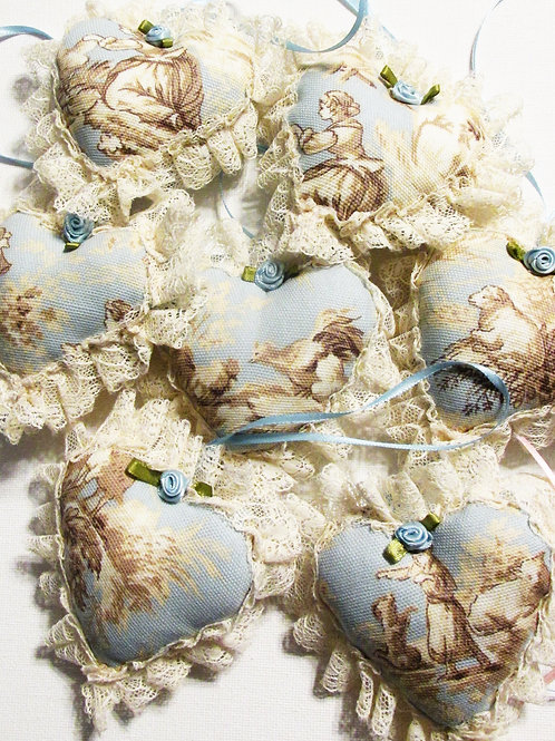 Shabby Chic French Toile Hearts, Car Ornaments, Handmade Hearts