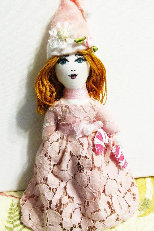 Shabby Chic Doll Ornament, Christmas Doll Ornament, Handmade Dolls, Pink Doll