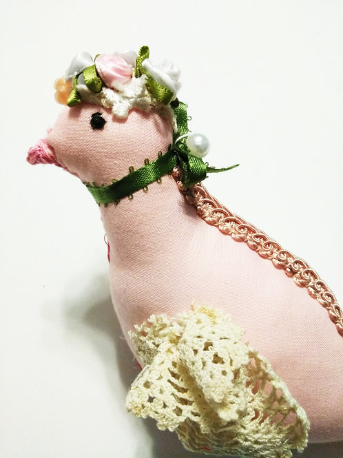 Shabby Chic Pink Fabric Bird