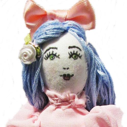 Shabby Chic Easter Doll, Blue Hair Doll, Handmade Doll