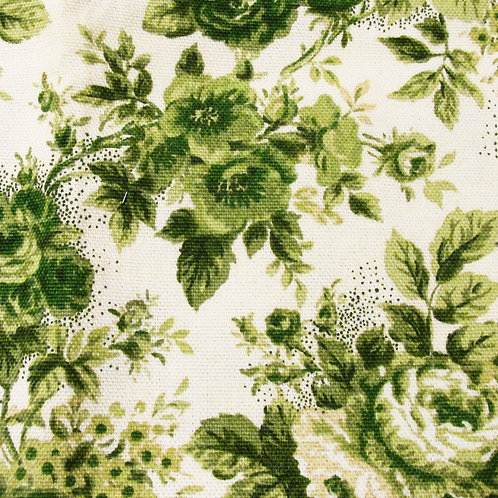Green Toile- Floral Design Pillow Cover