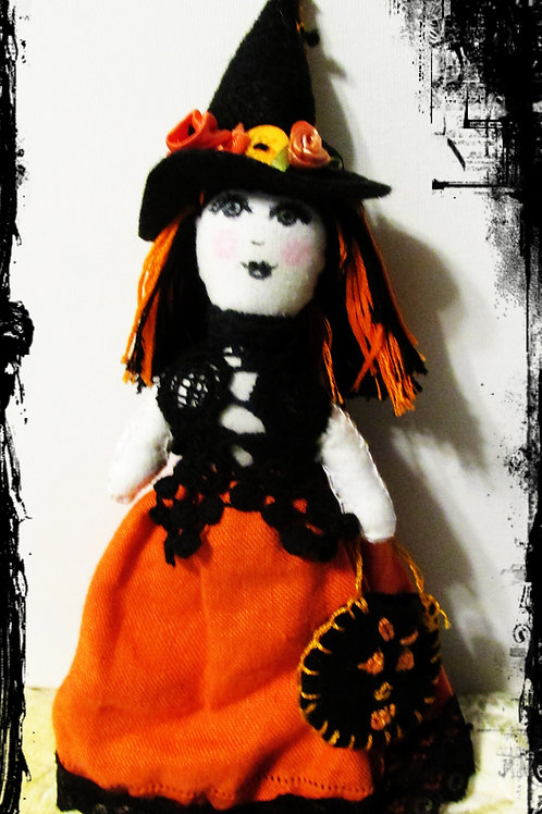 Halloween Witch Doll-Orange and Black Witch Doll