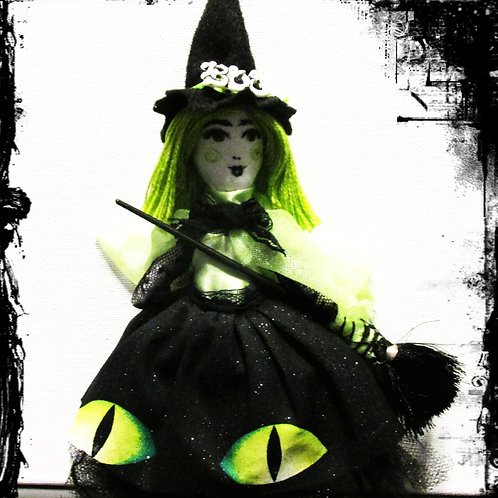 Green Witch Doll, Halloween Witch, Handmade Witch Doll