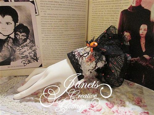 Shabby Chic Fabric Cuff-Halloween Spiders
