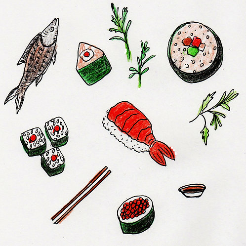 Sushi Illustration, Original,Hand Drawn Art,Download