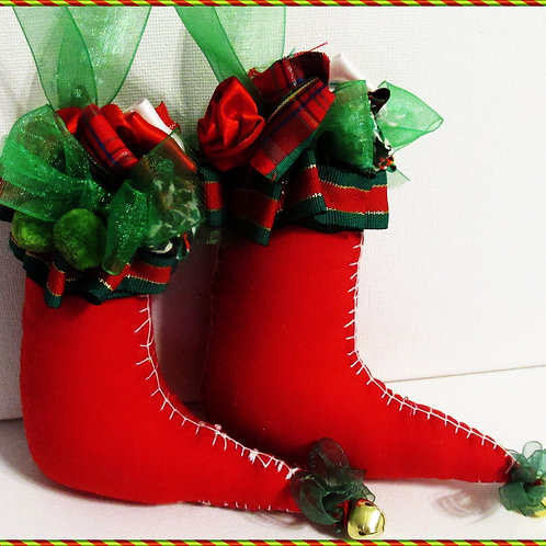 Shabby Chic Elf Ornaments, Elf Boot Ornaments, Red Ornaments