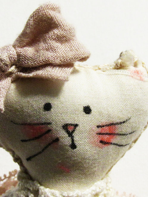 Shabby Chic Cat Doll, Handmade Cat Doll, Cute Cat