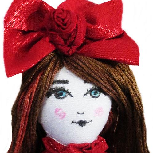 Cute Red Doll, Handmade Doll, Shabby Chic Doll
