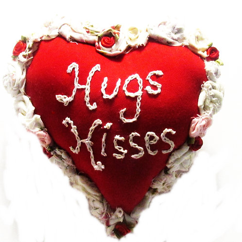 Valentine's Day Hugs and Kisses Heart Pillow