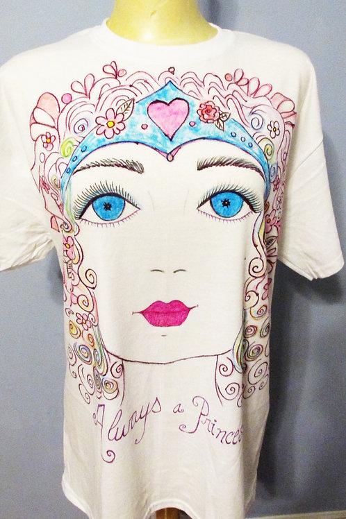 Shabby Chic T-Shirt Top, Hand Painted Art T-Shirt