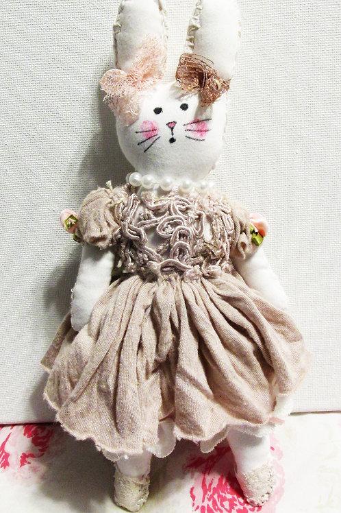 Shabby Chic Bunny Doll, Handmade Rabbit, Fabric Bunny