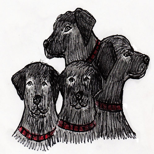 Digital Illustration of Labradors,Original Art, Hand Drawn