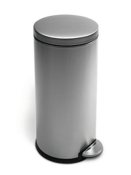 Round Pedal Bin, 30 Litre, FPP, Brushed Steel