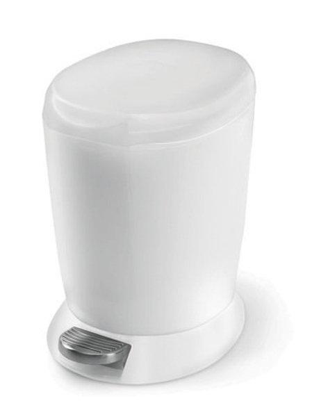 Mini Plastic White Pedal Bin, 6 litre