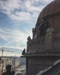 Oprava klemířských prvku na kopuli na Václavském náměstí