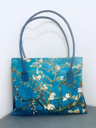 Sac Bleu Foncé et Tissu Japonais