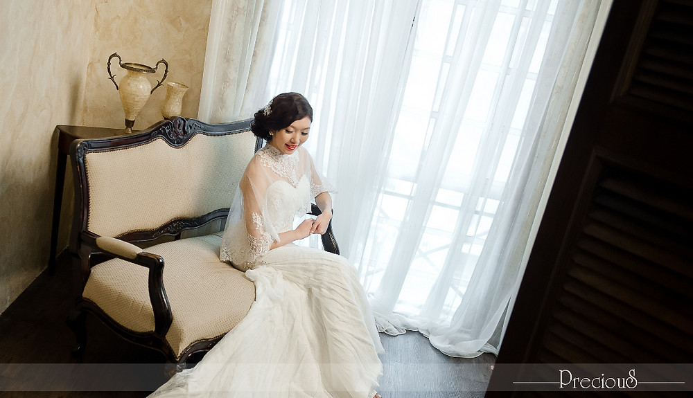 PRECIOUS WEDDING | Strapless Sweetheart Mermaid Dress with Soft Lace Cape