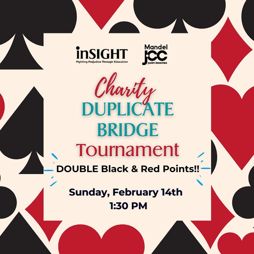 Charity DUPLICATE BRIDGE Tournament DOUBLE PTS!