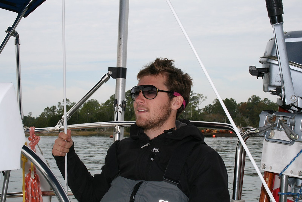 Andrew on the helm in the ICW