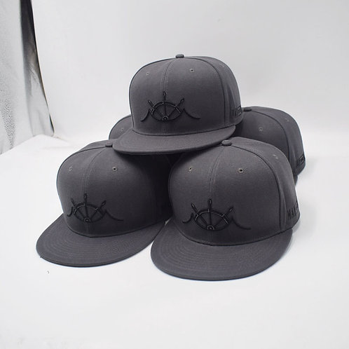 Gray Embroidered Snapback Hat