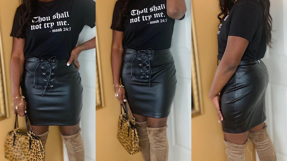"""Dilemma"" Faux Leather Skirt"