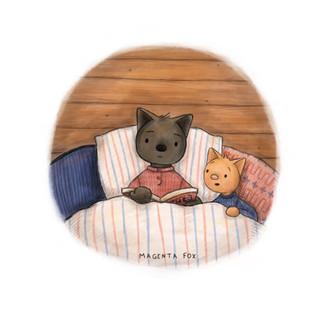 magenta fox illustration