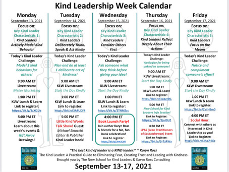 Kind Leadership Week 9/13 - 9/17! Save the Dates!
