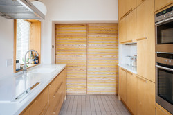 Kitchen View with plywood kitchen and sliding doors beyond