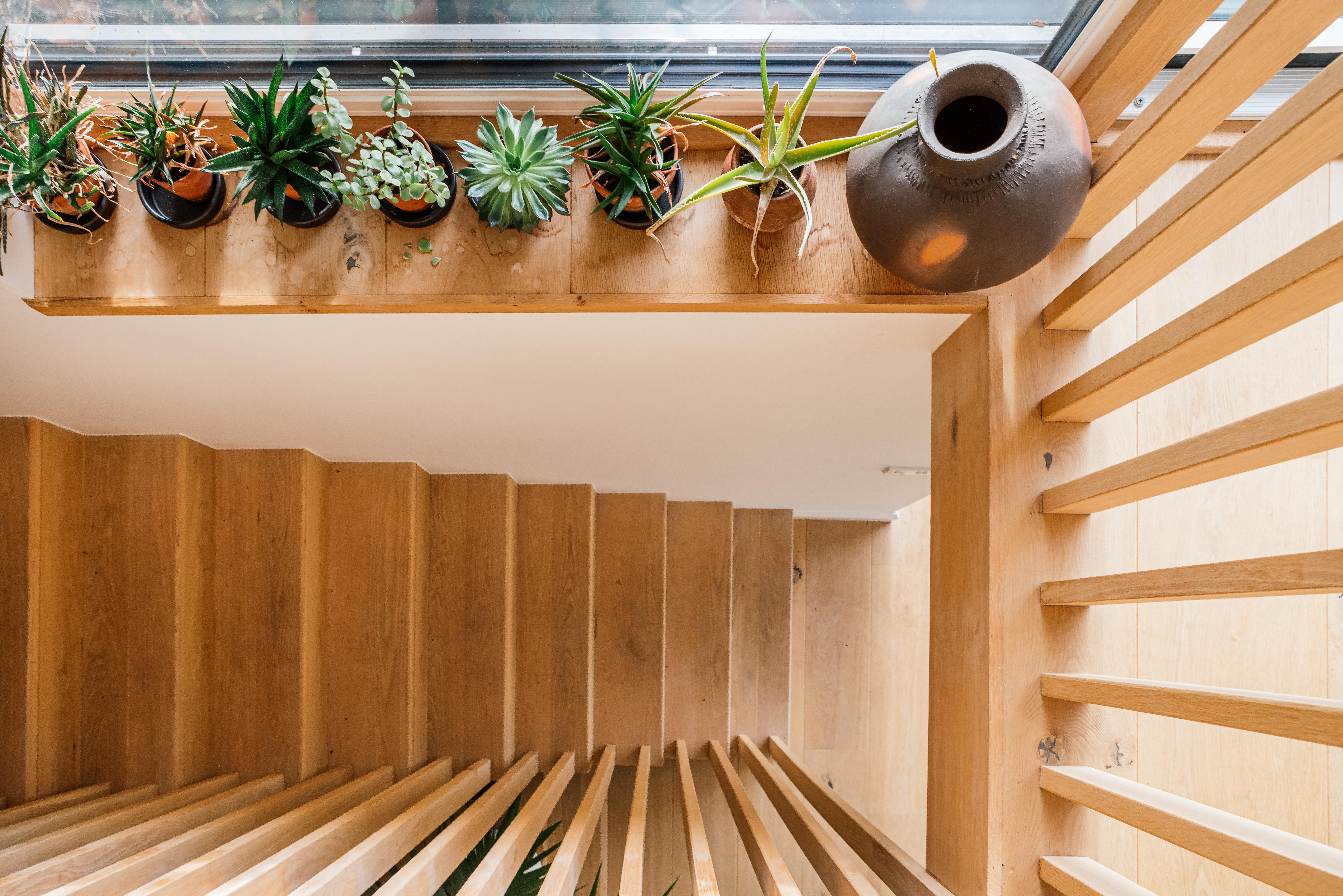 Oak stair detail down to garden