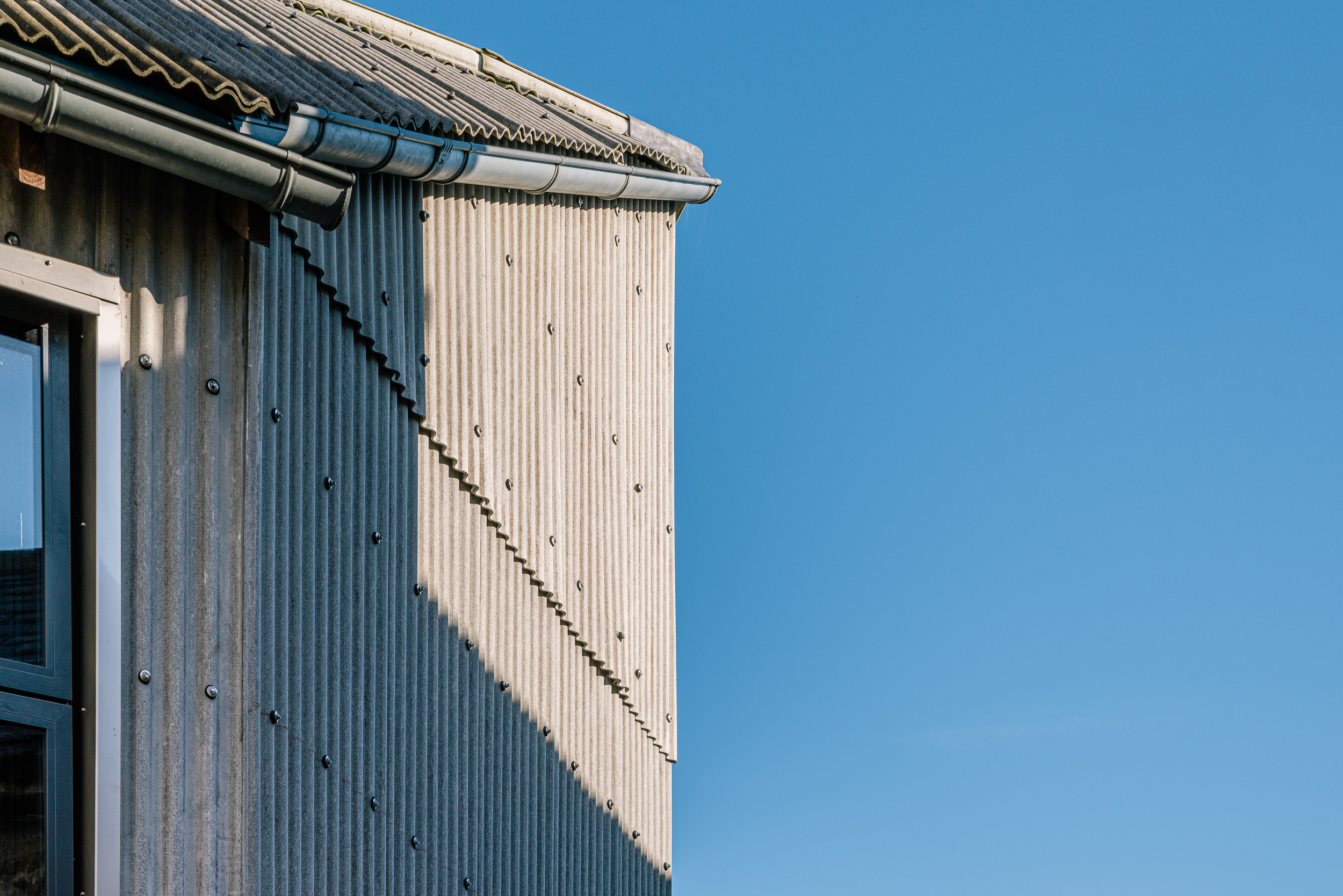 Roof and wall detail galvanised guttering