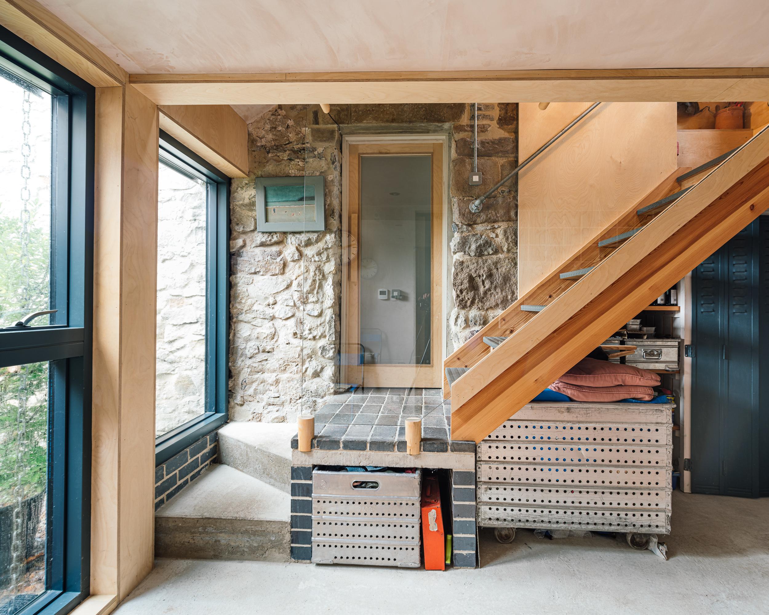Concrete, blue brick, metal stair case