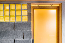 Utility room sliding door and glass bricks