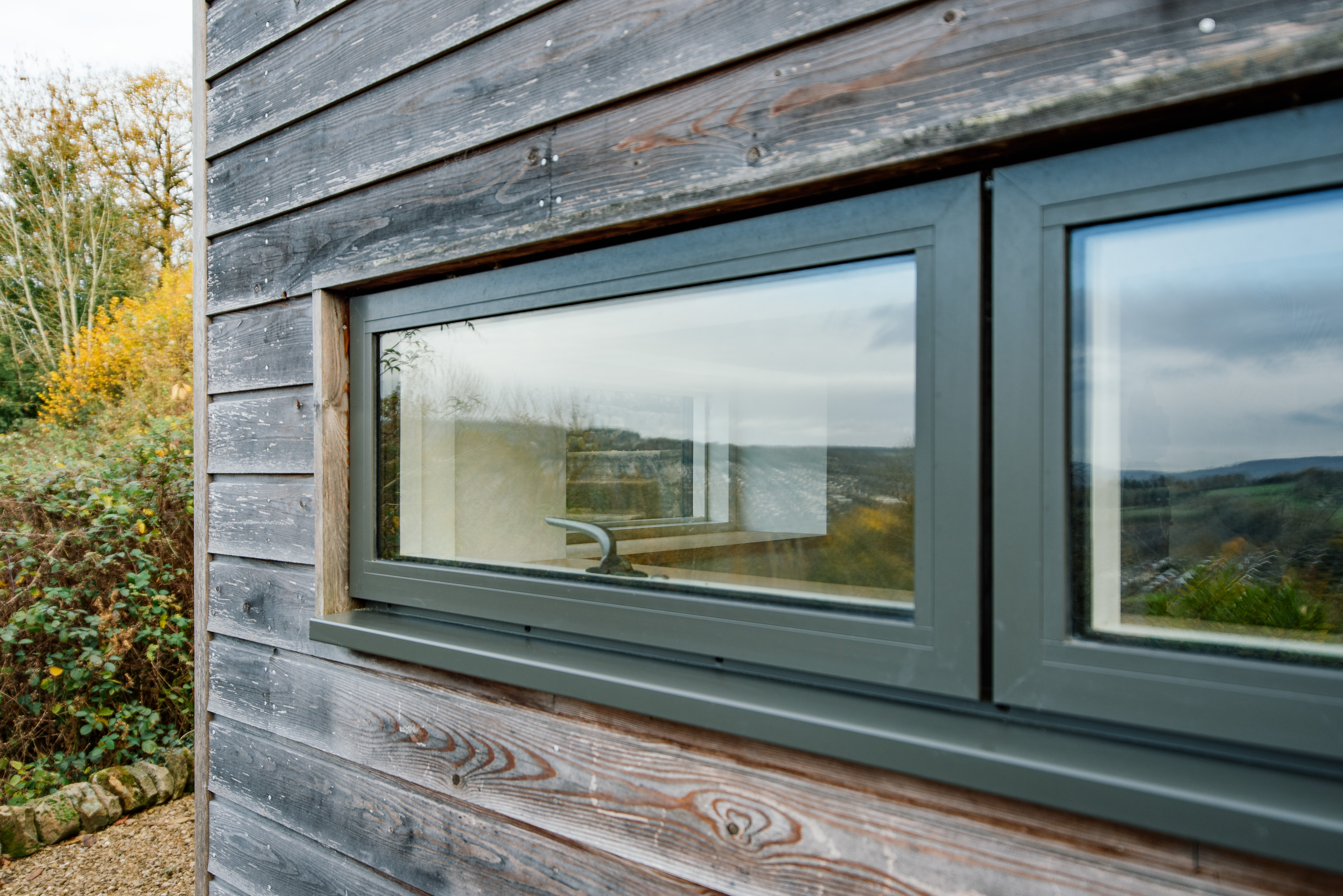 Window detail in timber cladding ideal combi