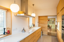 Plywood kitchen with corian worktops