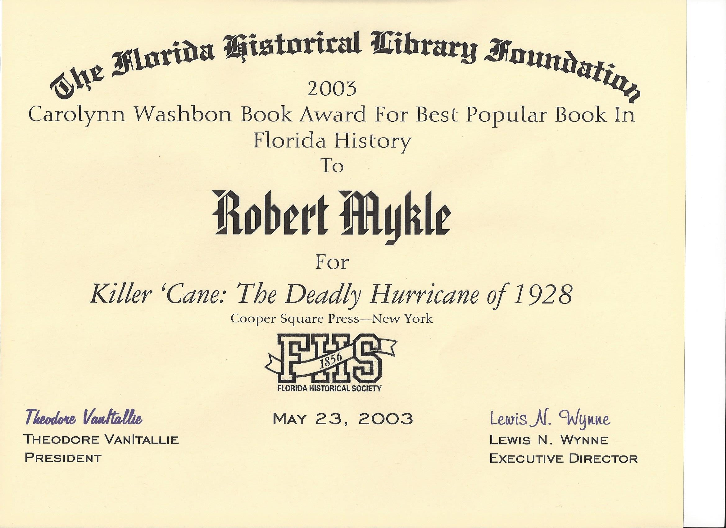 Florida Historical Society Award