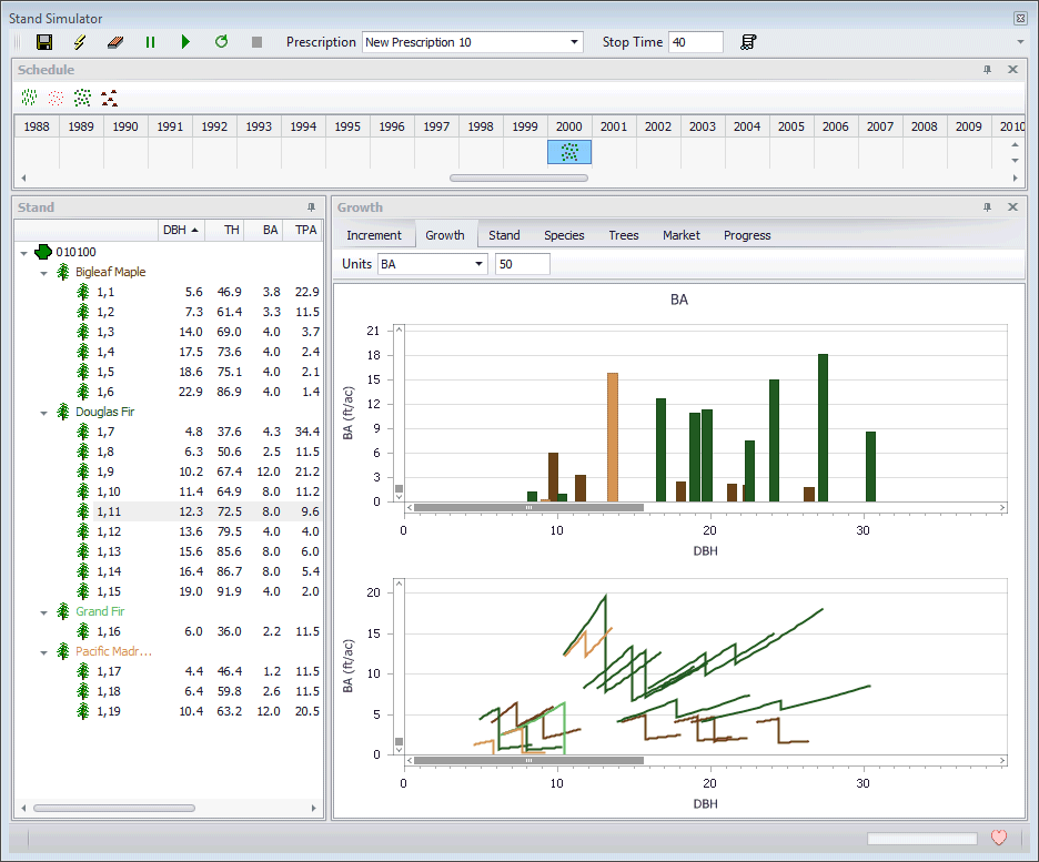 Assisi Forestry Software Thinning Response