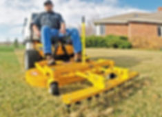 Dethatching, Thatching, Durango, CO by Lupine Lawn Care using Walker Mower.