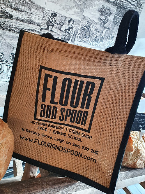 Flour and Spoon Hessian Shopping Bag