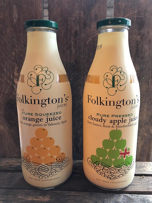 Folkington`s Pure Squeezed Juice - 1L - Valencia Orange or Cloudy Apple
