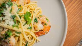 Lemon Garlic Parm Shrimp Pasta