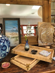 Tray and Round Blue Vase