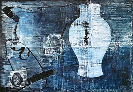 Blue vessel, Mixed media on canvas, 94x66 inches