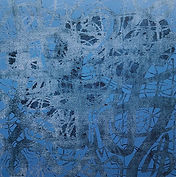 Space of blue, Acrylic, mixed media on canvas, 42x42 inches