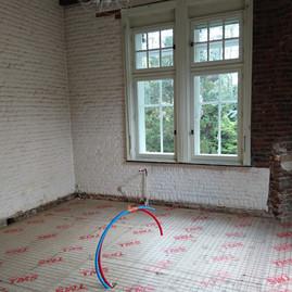 Rénovation d'une cuisine (chape, isolant) + dallage de finition